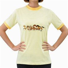 Wild Horses Herd Womens  Ringer T Shirt (colored) by gatterwe