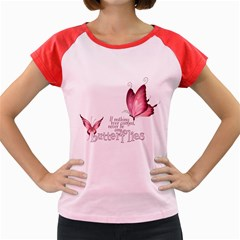 Pink Butterfly Women s Cap Sleeve T Shirt (colored) by gatterwe