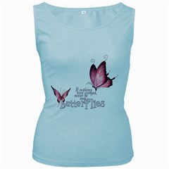 Pink Butterfly Womens  Tank Top (baby Blue) by gatterwe