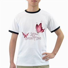 Pink Butterfly Mens' Ringer T Shirt by gatterwe