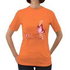 Pink Butterfly Womens' T Shirt (colored) by gatterwe