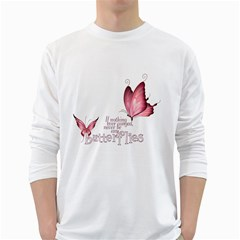Pink Butterfly Mens' Long Sleeve T Shirt (white)