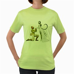 Wedding Couple 1 Womens  T Shirt (green) by gatterwe
