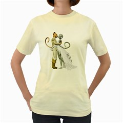 Wedding Couple 2  Womens  T Shirt (yellow) by gatterwe
