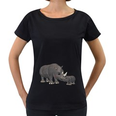 Rhino 1 Womens' Maternity T Shirt (black)