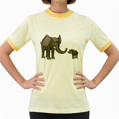 Elephant 3 Womens  Ringer T Shirt (colored) by gatterwe