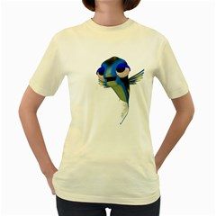 Fish 3  Womens  T Shirt (yellow) by gatterwe