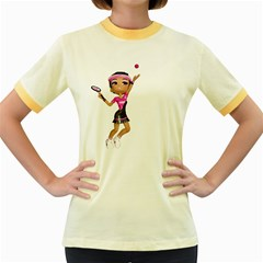 Tennis Girl 2 Womens  Ringer T-shirt (Colored) by gatterwe