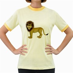 Lion 1 Womens  Ringer T-shirt (Colored) by gatterwe