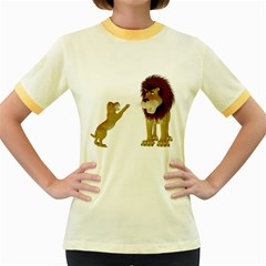 Lion 3 Womens  Ringer T Shirt (colored) by gatterwe