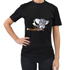 Native Snow Leopard 2 Womens' Two Sided T Shirt (black)