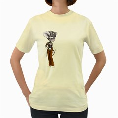 Native Snow Leopard 3  Womens  T Shirt (yellow) by gatterwe
