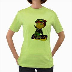 Snowboarder 2 Womens  T Shirt (green) by gatterwe