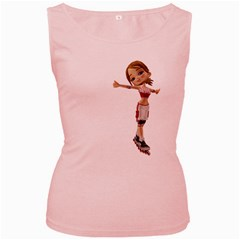 Skater Girl 2 Womens  Tank Top (pink) by gatterwe