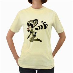 Anime Raccoon 2  Womens  T Shirt (yellow) by gatterwe