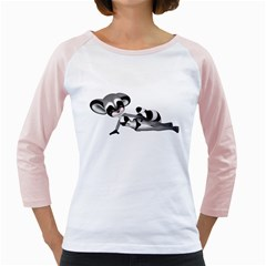 Anime Raccoon 3 Womens  Long Sleeve Raglan T Shirt (white) by gatterwe