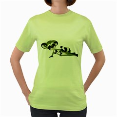 Anime Raccoon 3 Womens  T Shirt (green) by gatterwe