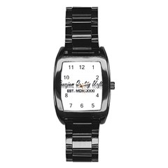 Banner Men's Stainless Steel Barrel Analog Watch