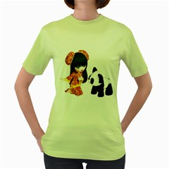 Kawaii China Girl 1 Womens  T Shirt (green) by gatterwe