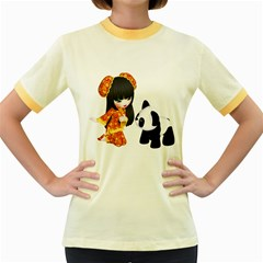 Kawaii China Girl 1 Womens  Ringer T Shirt (colored) by gatterwe