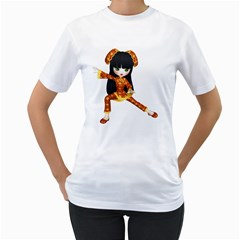 Kawaii China Girl 2 Womens  T Shirt (white) by gatterwe