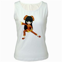 Kawaii China Girl 2 Womens  Tank Top (white) by gatterwe