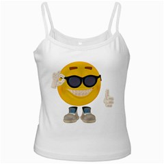 Holiday Smiley White Spaghetti Tank by gatterwe