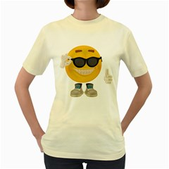 Holiday Smiley  Womens  T Shirt (yellow) by gatterwe