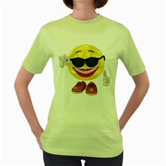 Holiday Woman Smiley Womens  T Shirt (green) by gatterwe