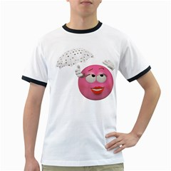 Umbrella Smiley Mens' Ringer T Shirt