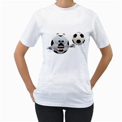 Soccer Smiley Womens  T-shirt (White) by gatterwe
