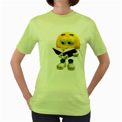 Book Smiley Womens  T Shirt (green) by gatterwe