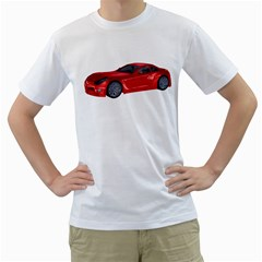 Red Sport Car 2 Mens  T Shirt (white)