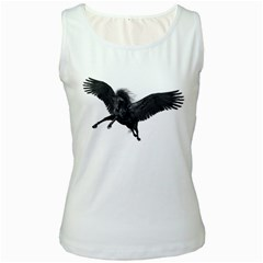 Black Pegasus Womens  Tank Top (white)