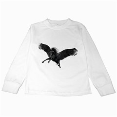 Black Pegasus Kids Long Sleeve T Shirt by gatterwe
