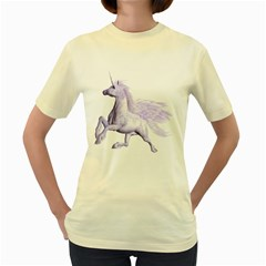 Purple Pegasus  Womens  T Shirt (yellow) by gatterwe