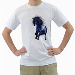 Blue Unicorn 1 Mens  T Shirt (white) by gatterwe
