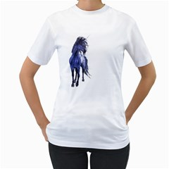 Blue Unicorn 2 Womens  T Shirt (white)