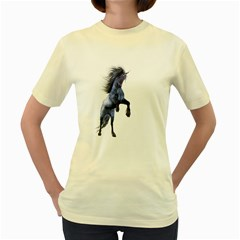 Blue Unicorn 3  Womens  T Shirt (yellow)
