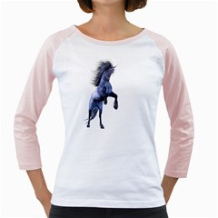 Blue Unicorn 3 Womens  Long Sleeve Raglan T Shirt (white) by gatterwe