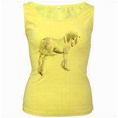 Silver Unicorn Womens  Tank Top (yellow)