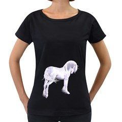 Silver Unicorn Womens' Maternity T-shirt (Black) by gatterwe