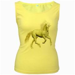 White Unicorn 3 Womens  Tank Top (Yellow)
