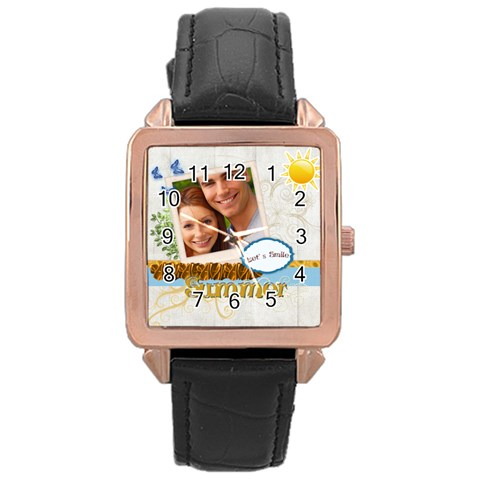 Summer By Joely   Rose Gold Leather Watch    09cjxo52amim   Www Artscow Com Front
