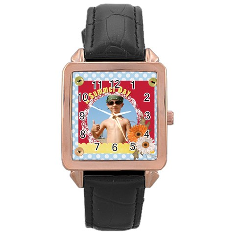 Summer By Joely   Rose Gold Leather Watch    G3bb1j5p4jxh   Www Artscow Com Front