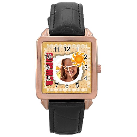 Summer By Joely   Rose Gold Leather Watch    Zepeizkrwzqx   Www Artscow Com Front