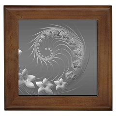 Gray Abstract Flowers Framed Ceramic Tile by BestCustomGiftsForYou