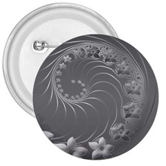 Gray Abstract Flowers 3  Button by BestCustomGiftsForYou