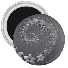 Gray Abstract Flowers 3  Button Magnet by BestCustomGiftsForYou