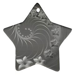 Gray Abstract Flowers Star Ornament by BestCustomGiftsForYou